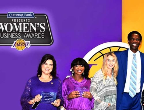 Cindy Nasser Presented with Comerica Bank's Women in Business Award at Los Angeles Lakers Game